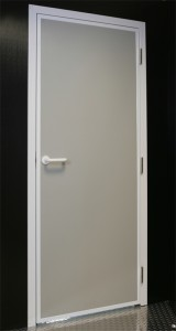 Personnel door with a powder coated frame